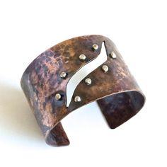 Handmade Hammered Wide Copper Cuff by cyndiesmithdesigns on Etsy