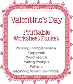 at home, valentine day, worksheet packet, colors, writing prompts, birds, printabl, homeschool academi, handwriting practice