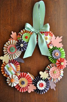 paper craft, paper wreaths, paper flowers, door, papers, autumn falls, fall wreaths, dorm rooms, autumn wreaths