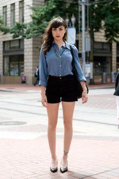 Shirt + shorts! Lipstick. Eyes.