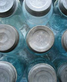 Old blue mason jars with zinc lids