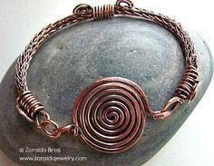 Bracelet Gallery - Art -Z Jewelry Copper viking knit & spiral bracelet