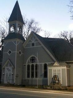 little old kansas church at sunrise