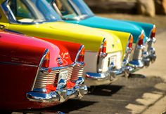 A rainbow of vintage tail fin awesomeness. #vintage #cars #1950s #red #yellow #blue