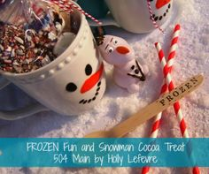 #FrozenFun and Snowman Hot Cocoa by 504 Main #shop #cbias--Buy ahead at Christmas (snowmen galore!) for party favor holders!