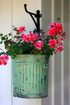green potted plants, patina, bucket, planter, back porches, flower hanger, front porches