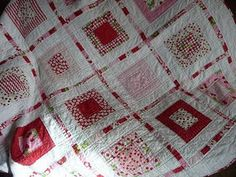 red and white square in a square         pattern :   MATCHBOX  by Abbey lane quilts    uses a Charm pack, layer cake and a jelly roll