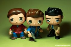 Supernatural POP vinyl customs (repaint etc) by Armeleia