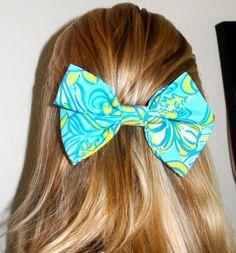 Tri Delta Sorority Lilly Pulitzer Print Hair Bow. $15.00, via Etsy.