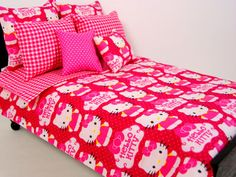 Hello Kitty Bedding Set for Barbie Doll by ElleLaLaBoutique