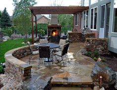 Nice idea :) patio-with-fireplace-and-outdoor-food prep area/ BBQ