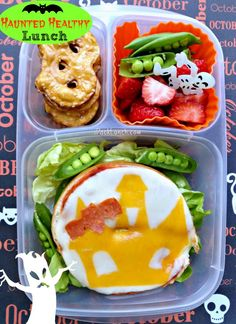 """Haunted Healthy """"How-to"""" Pizza Bagel Lunch    packed in an @EasyLunchboxes container"""
