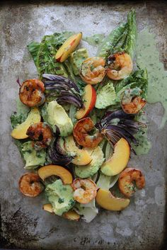 Grilled Romaine, Prawn, Avocado and Nectarine Salad with Jalapeno Vinaigrette by Heather Christo, via Flickr
