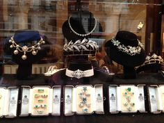 Bentley and Skinner display window with tiaras and other jewelry.