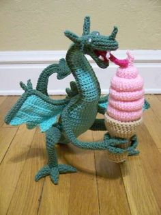 Crocheted Dragon Eating Ice Cream - I want someone to make this for me. I just don't have the patience for amigurumi.