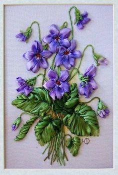 ribbonwork, silk ribbon, purple flowers, violet, ribbon embroideri, ribbon work, ribbon flower