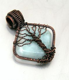 Tree of Life Pendant Copper Wire Wrapped Aquamarine