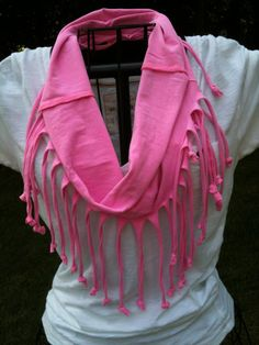 Fringe infinity scarf made from a tshirt.