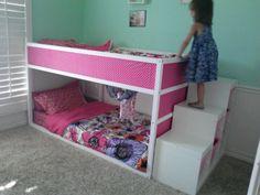 kid beds, storage shelves, ikea hack bunk bed, kura bed, kid room, ikea kura, ikea bunk beds for girls room, kura hack, girl rooms