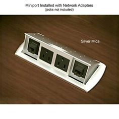 Miniport #Power #Data Center for #Desk or #Table - #triphazard prevention and convenience all in one versatile desk #outlet. Retracts when not in use & includes 2 blank ports for snap-in voice/data modules.