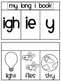 Long i sounds book where the kids sort the picture words under the right sound - can also print it premade like this for student to color and assemble! 15 picture word cards per book!