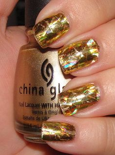 Gold Holographic Foil Manicure