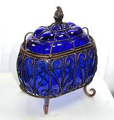 Vintage Large Cobalt Blue Glass Compote Box Glass and Wire