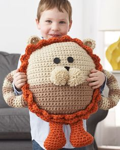 cute huggable lion pillow - crochet
