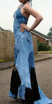 Halter neck maxi dress from old denim jeans