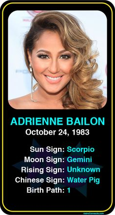 Celeb #Scorpio birthdays: Adrienne Bailon's astrology info! Sign up here to see more: https://www.astroconnects.com/galleries/celeb-birthday-gallery/scorpio #astrology #horoscope #zodiac #birthchart #natalchart #adriennebailon #cheetahgirls