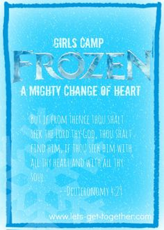 FROZEN Girls Camp-ideas for a kick-off activity, including invitation (FREE PRINTABLE!), devotional, craft, and treat! (will be coming out with more ideas for entire Girls Camp) www.lets-get-together.com #frozen #girlscamp #lds