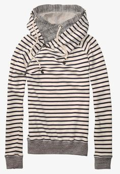 Cute stripe print sweater with double layer hoodie | Women Fashion Galaxy