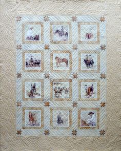 Cowboy quilt, made with prints of cowboy paintings done by Lynn Brown. Quilted by Sue Garman: March 2014