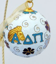 Alpha Delta Pi Cloisonne Ornament with 24k by Kitty Keller Designs, $38.00