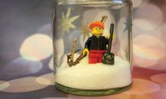 Lego Minifigure Terrarium and Snow Globe Journal Craft for Winter