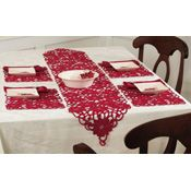 Embroidered Poinsettia Holiday Table Linens.  Would be cute to put a bell on the ends ~!~