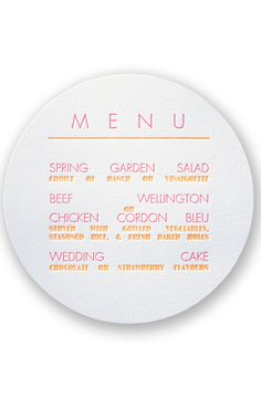 Typography Love Letterpress Wedding Menu by David's Bridal |Follow us and start pinning pretty paper options - from invitations and save the dates to programs and table numbers - for a chance to win $1,000 to InvitationsbyDavidsBridal.com. Enter here: http://sweeps.piqora.com/rsvpready