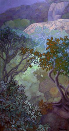 "Karin Daymond  ""Back Garden in Winter""  Oil on canvas"