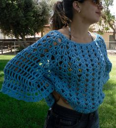 Angel Sleeve Sweater Top Beach Cover-Up CROCHET PDF