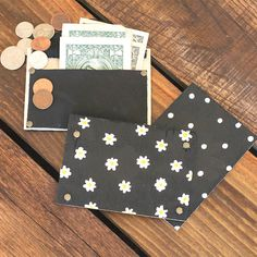 Make a simple card, cash, change or business card wallet out of leather and wood.