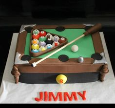 pool table cake....a bit out of proportion, can change size of balls or table