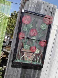 Red Geranium Window Screen