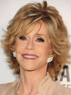 Jane Fonda's Modern Shag with choppy layers from front to back with shorter layers framing her face.
