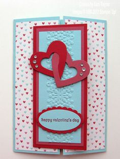 SU! Gatefold card using Hearts Collection Framelits; More Amore DSP; Pool Party, Primrose Petals and Real Red card stock - Sara Rayner