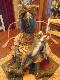 Very Prim PICKANINNY / QUALITY, HANDMADE black doll / Black Americana / Folk Art #BlackFolkArt #Handmade