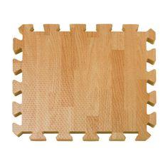 10-Piece Wood-Grain Foam Play Mat