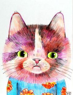 Cat Portrait (original illustration on paper)