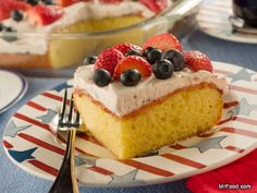Summer Berry Cake - Our fruity summer cake cooks up in only 30 minutes, making it a quick dessert to throw together for your upcoming backyard potlucks.