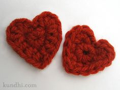 Tiny crochet hearts:
