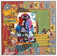 Graphic 45 le Cirque scrapbook layout